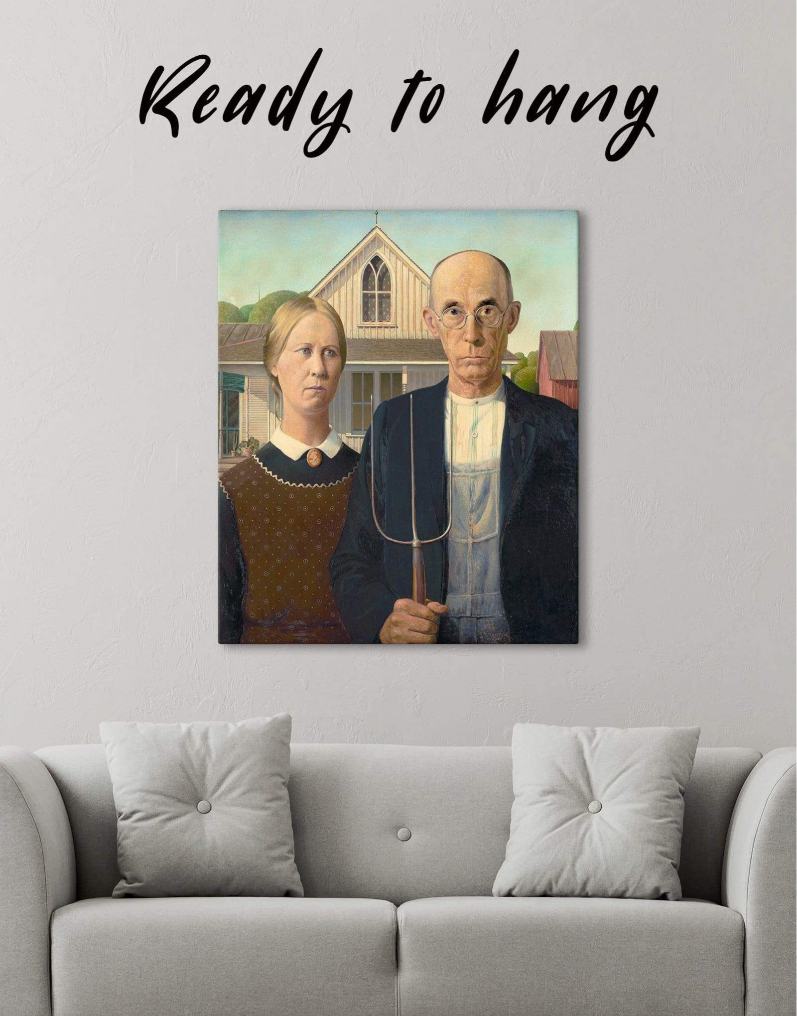 American Gothic By Grant Wood Canvas Wall Art Texelprintart