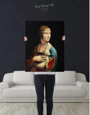 Lady with an Ermine by Leonardo da Vinci Canvas Wall Art - Image 2