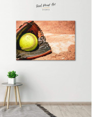 Softball Stick and Ball Canvas Wall Art