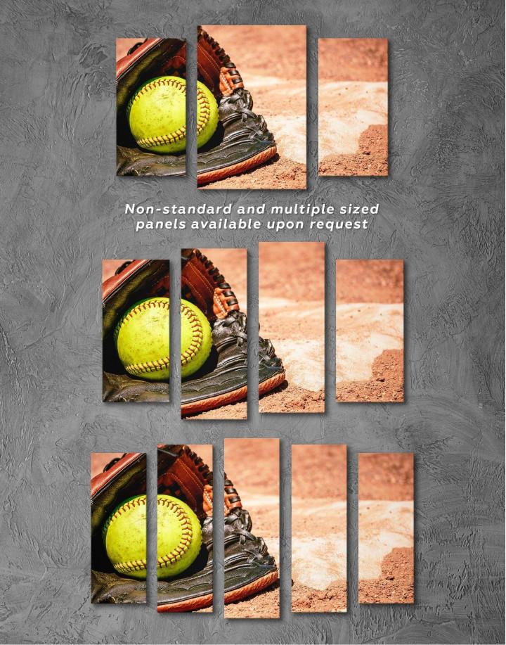 Softball Stick and Ball Canvas Wall Art - Image 2