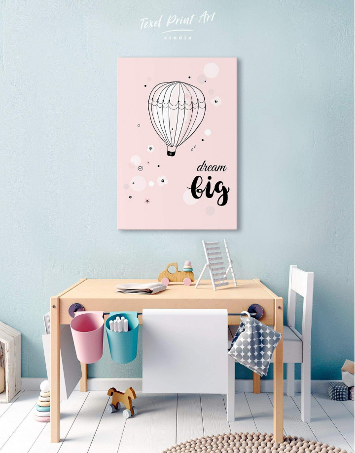 Hot Air Balloon Nursery Big Dream Canvas Wall Art - Image 3