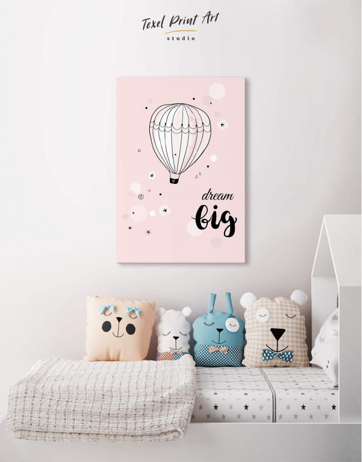 Hot Air Balloon Nursery Big Dream Canvas Wall Art - Image 0