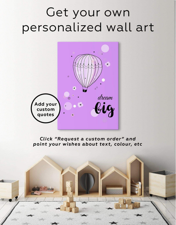 Hot Air Balloon Nursery Big Dream Canvas Wall Art - Image 6