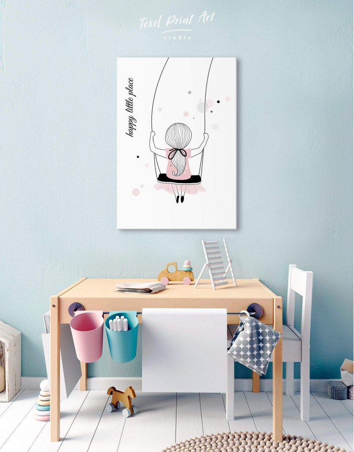 Baby Girl Happy Little Place Canvas Wall Art