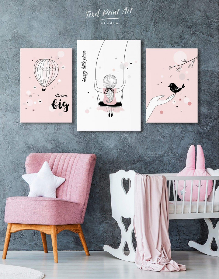 Baby Girl Happy Little Place Canvas Wall Art - Image 3