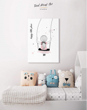 Baby Girl Happy Little Place Canvas Wall Art - image 4