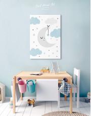 Baby Boy Nursery Moon Canvas Wall Art - Image 4