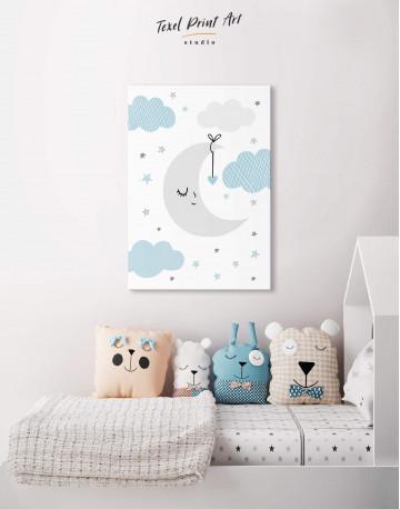 Baby Boy Nursery Moon Canvas Wall Art
