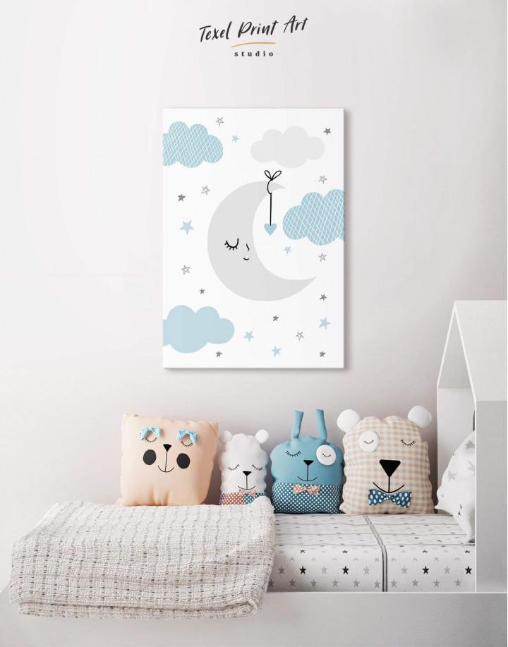Baby Boy Nursery Moon Canvas Wall Art - Image 0