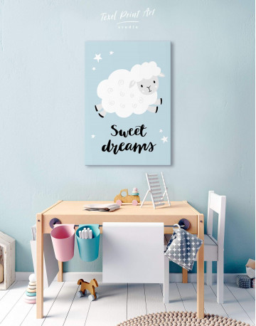 Sheep Nursery Sweet Dreams Canvas Wall Art - image 3