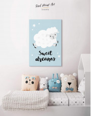 Sheep Nursery Sweet Dreams Canvas Wall Art - Image 4