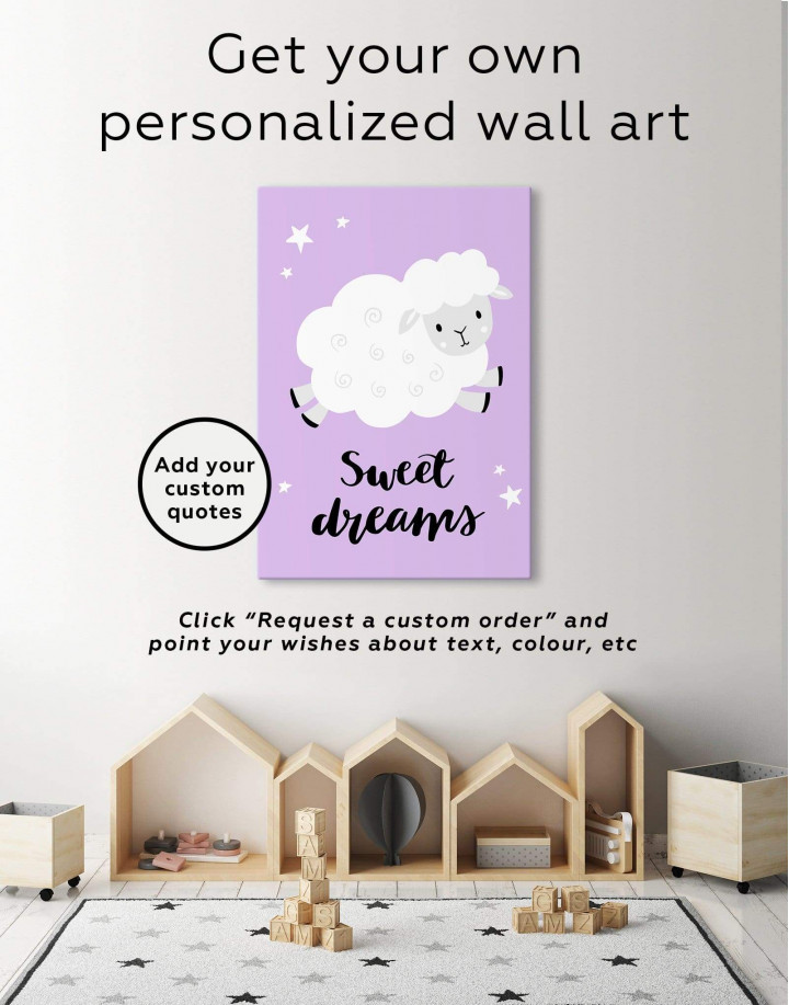 Sheep Nursery Sweet Dreams Canvas Wall Art - Image 1