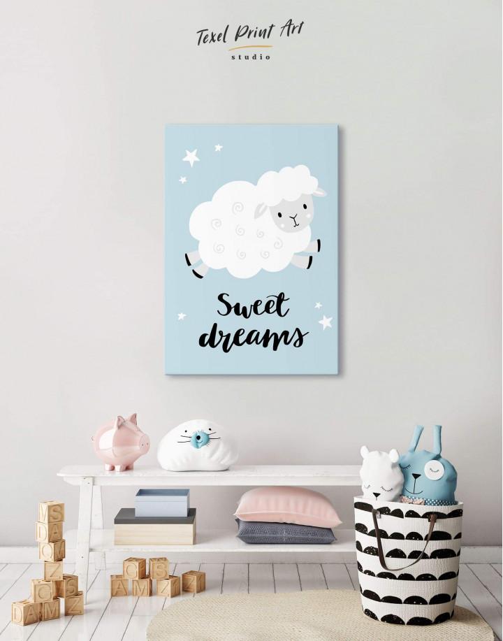 Sheep Nursery Sweet Dreams Canvas Wall Art
