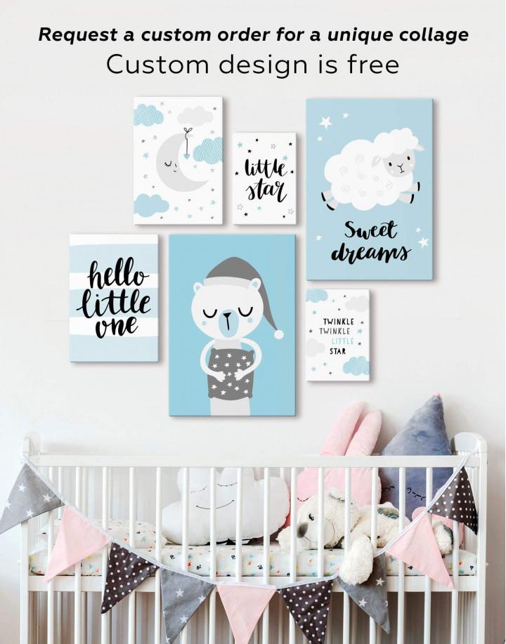 Hello Little One Nursery Canvas Wall Art - Image 2