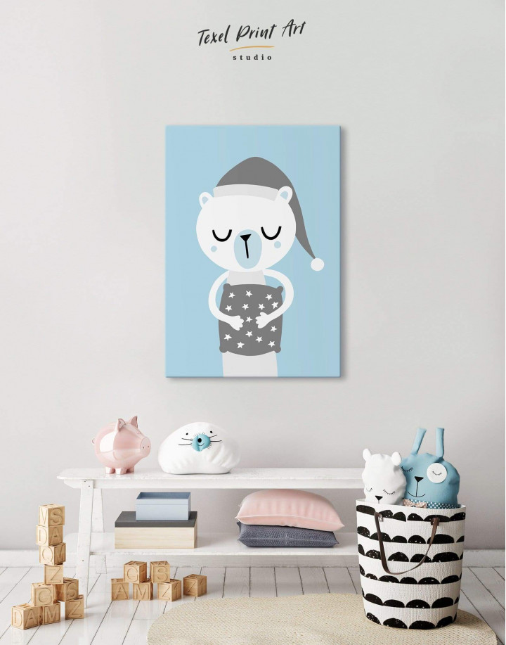 Polar Bear Nursery Bedroom Canvas Wall Art - Image 0