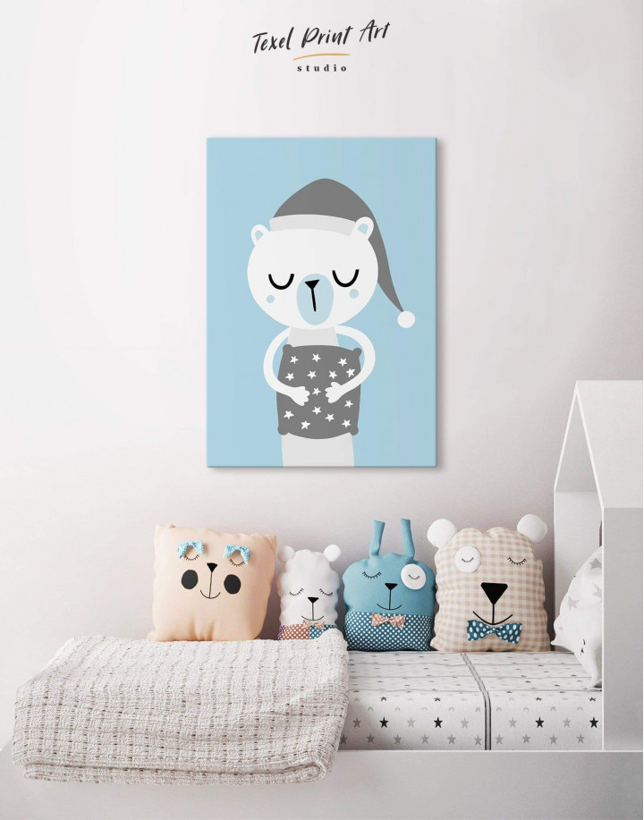Polar Bear Nursery Bedroom Canvas Wall Art - Image 4