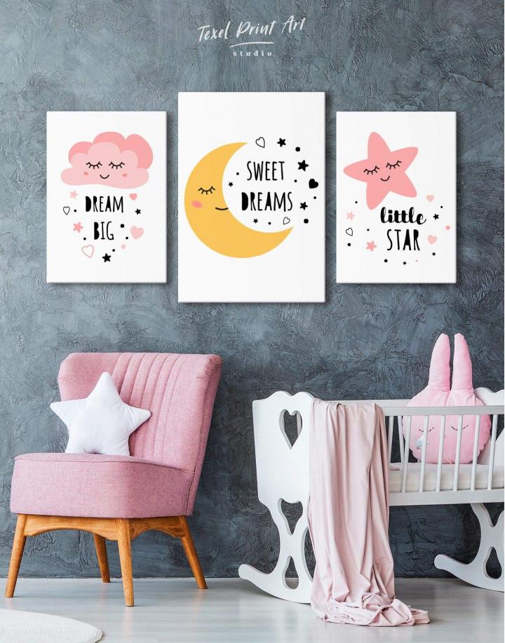 Little Girl Dream Big Canvas Wall Art - Image 3