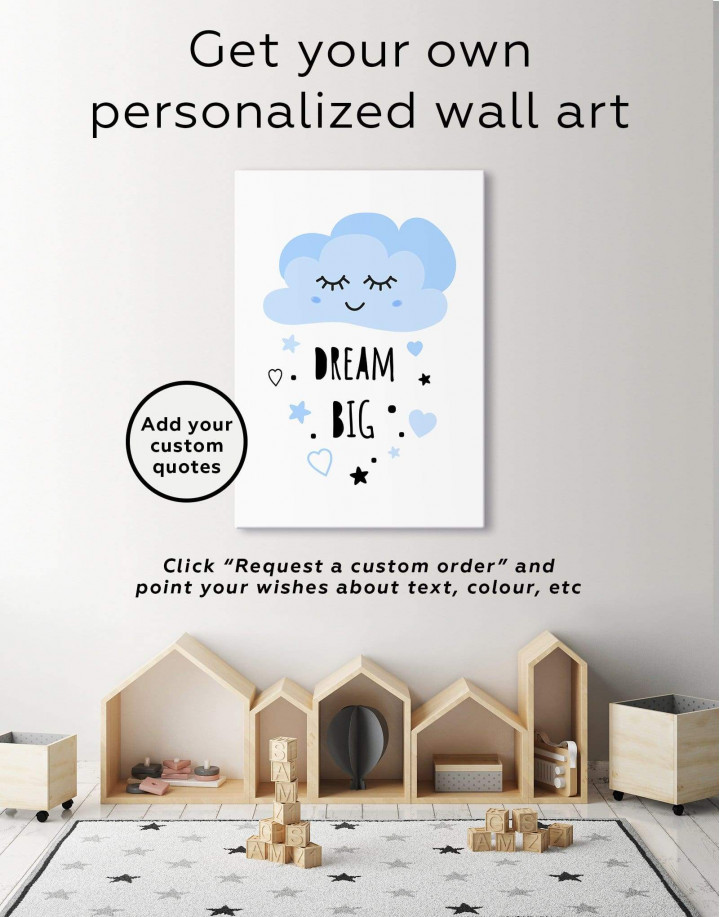 Little Girl Dream Big Canvas Wall Art - Image 1