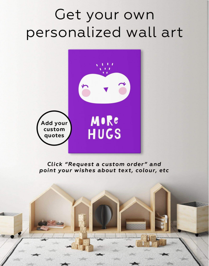 More Hugs Nursery Animal Canvas Wall Art - Image 1