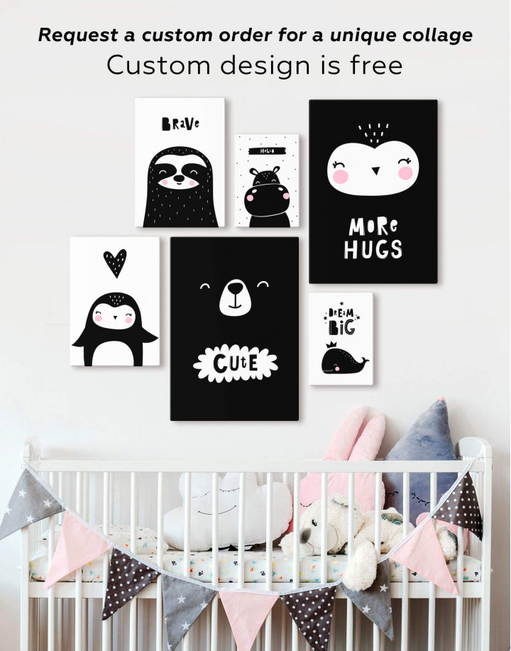 More Hugs Nursery Animal Canvas Wall Art - Image 2