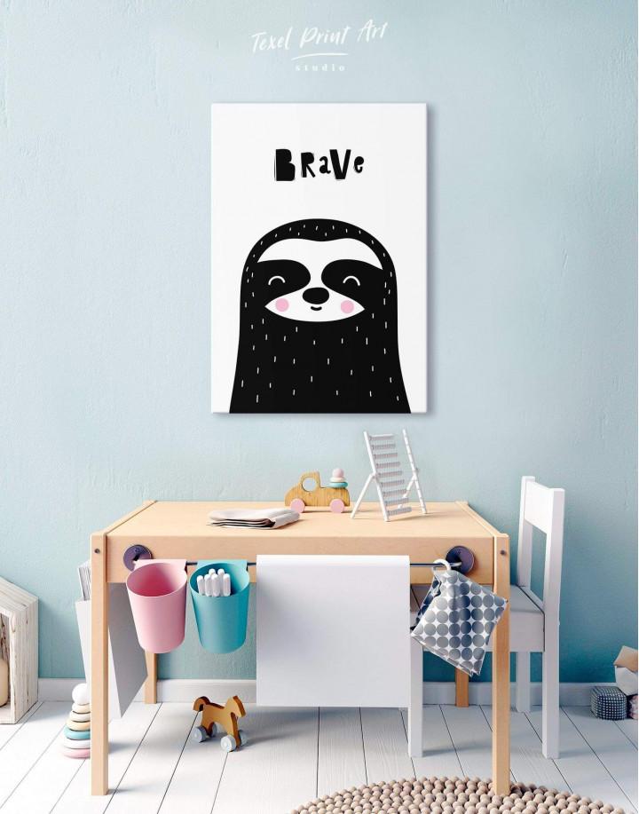 Brave Sloth Nursery Animal Canvas Wall Art - Image 2