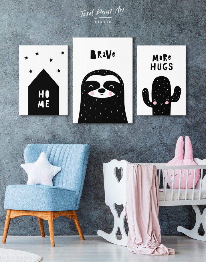 Brave Sloth Nursery Animal Canvas Wall Art - Image 4