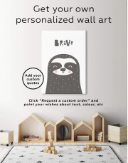 Brave Sloth Nursery Animal Canvas Wall Art - Image 6