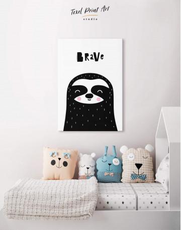 Brave Sloth Nursery Animal Canvas Wall Art - image 3