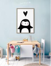 Framed Penguin Nursery Animal Canvas Wall Art