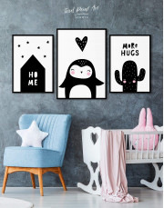 Framed Penguin Nursery Animal Canvas Wall Art - Image 4