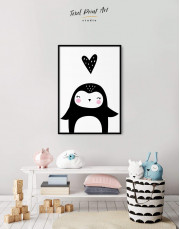 Framed Penguin Nursery Animal Canvas Wall Art - Image 1