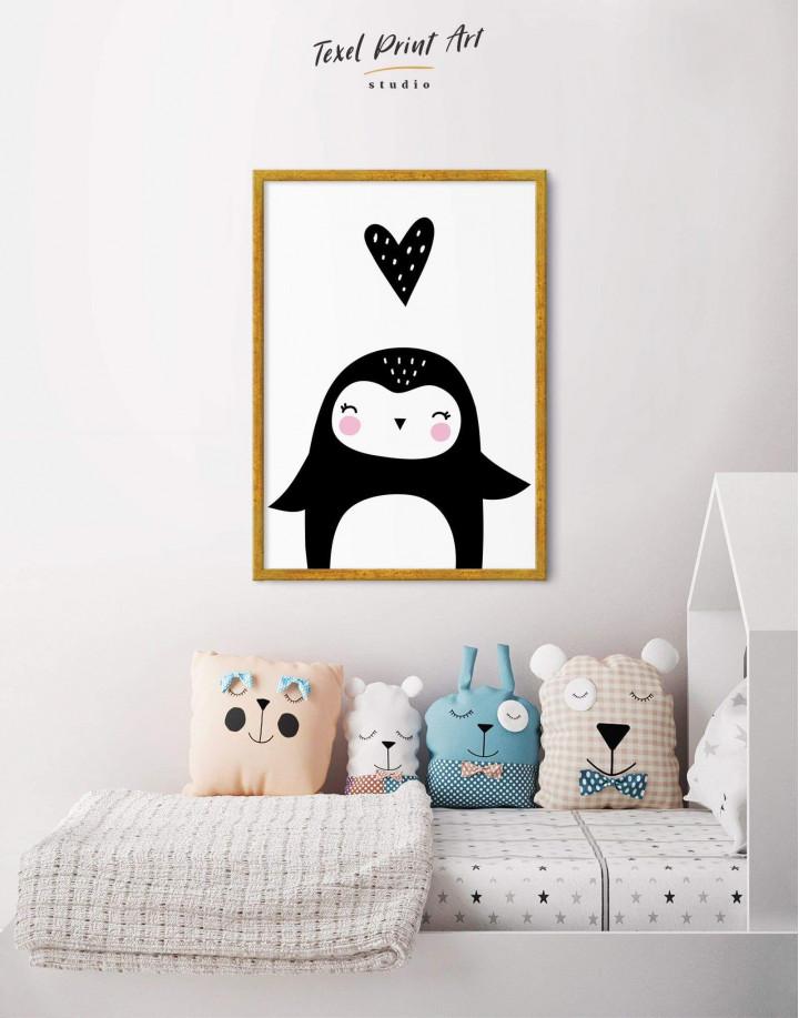 Framed Penguin Nursery Animal Canvas Wall Art - Image 2