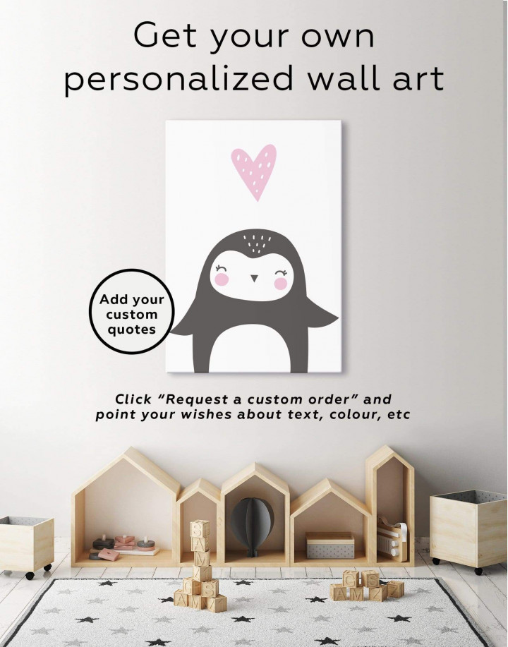 Penguin Nursery Animal Canvas Wall Art - Image 1
