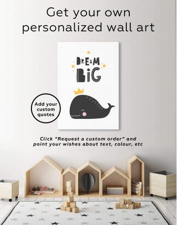 Dream Big Whale Nursery Animal Canvas Wall Art - image 6