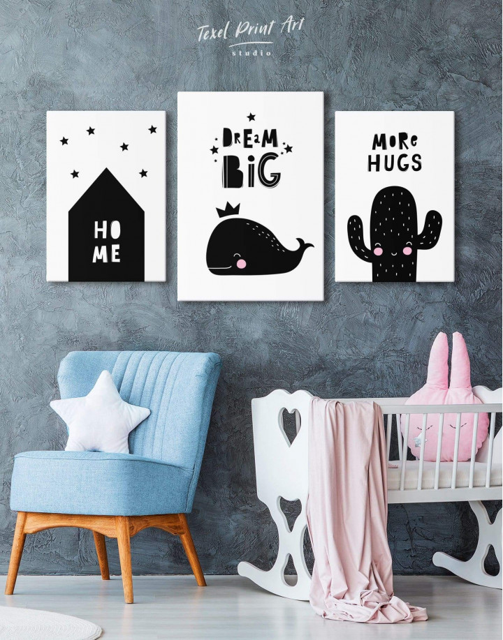 Dream Big Whale Nursery Animal Canvas Wall Art - Image 4