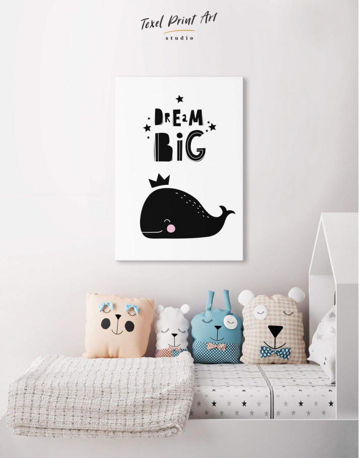 Dream Big Whale Nursery Animal Canvas Wall Art - Image 3