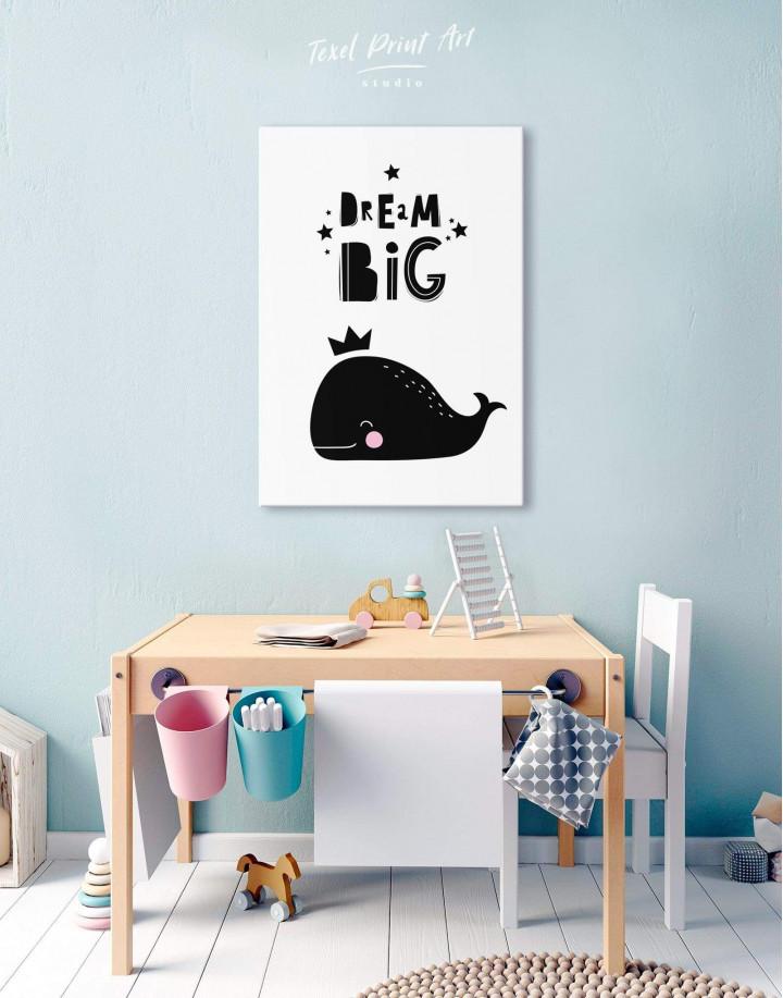Dream Big Whale Nursery Animal Canvas Wall Art - Image 2