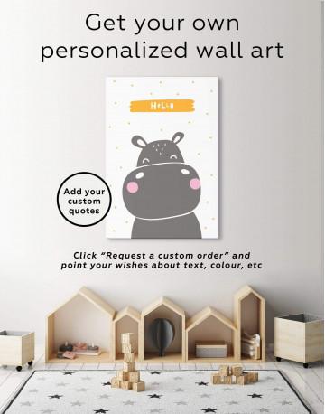 Hello Hippo Nursery Animal Canvas Wall Art - image 1