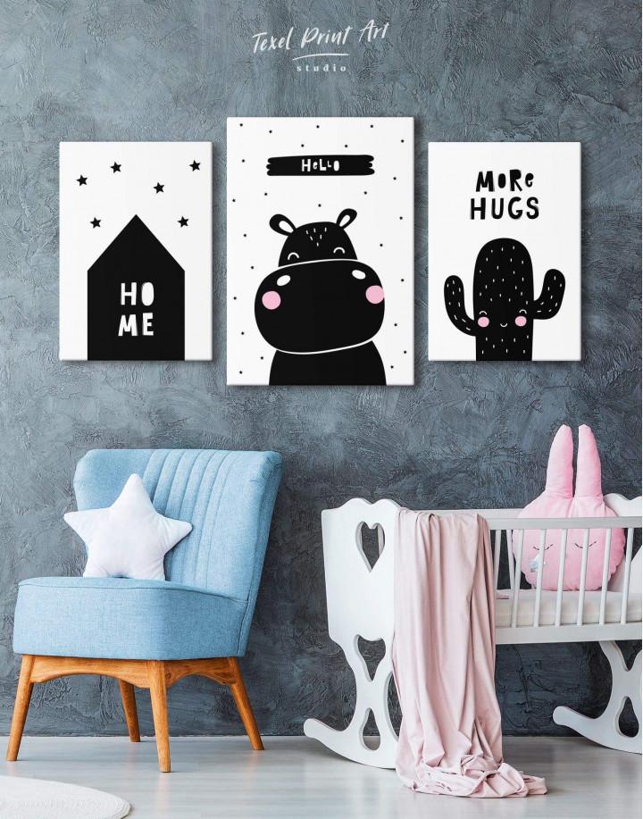 Hello Hippo Nursery Animal Canvas Wall Art - Image 3
