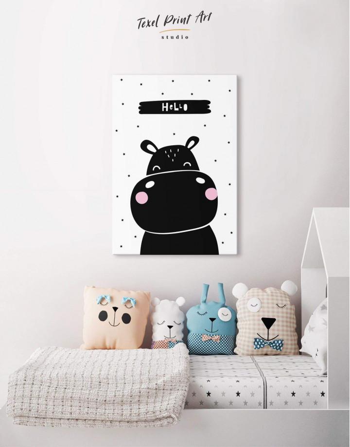 Hello Hippo Nursery Animal Canvas Wall Art - Image 4
