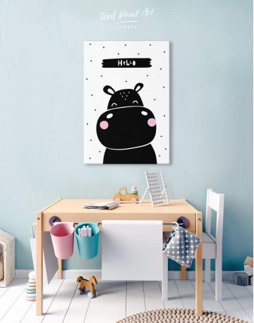 Hello Hippo Nursery Animal Canvas Wall Art