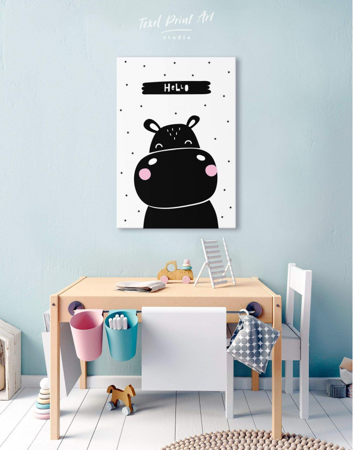 Hello Hippo Nursery Animal Canvas Wall Art - Image 0