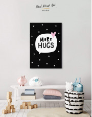 Black and White More Hugs Canvas Wall Art - Image 5