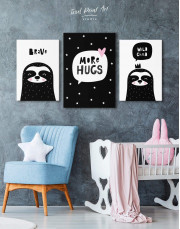 Black and White More Hugs Canvas Wall Art - Image 3