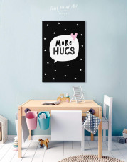 Black and White More Hugs Canvas Wall Art