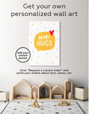 Black and White More Hugs Canvas Wall Art - Image 1