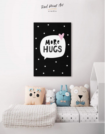 Black and White More Hugs Canvas Wall Art - image 4