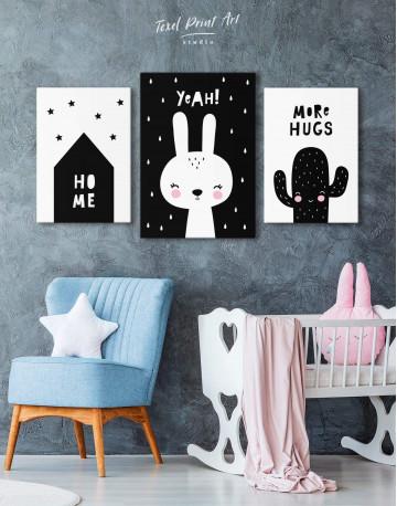 Yeah! Bunny Nursery Animal Canvas Wall Art - image 3