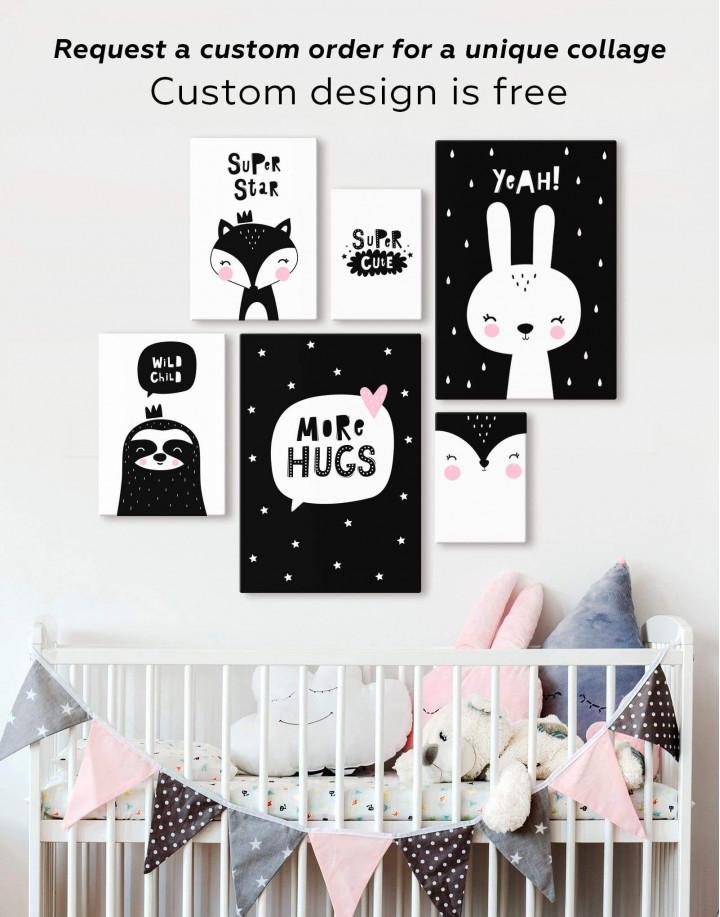 Yeah! Bunny Nursery Animal Canvas Wall Art - Image 2