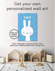 Yeah! Bunny Nursery Animal Canvas Wall Art - Image 1